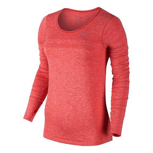 Womens Nike Dri-Fit Knit Long Sleeve No Zip Technical Tops - Light Crimson XS