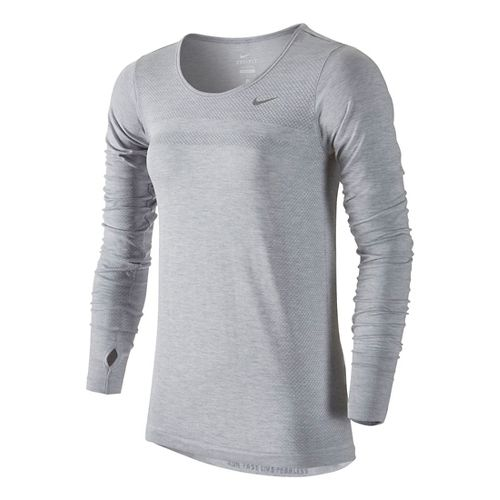 Womens Nike Dri-Fit Knit Long Sleeve No Zip Technical Tops - Light Grey S