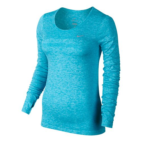 Womens Nike Dri-Fit Knit Long Sleeve No Zip Technical Tops - Lake Blue L