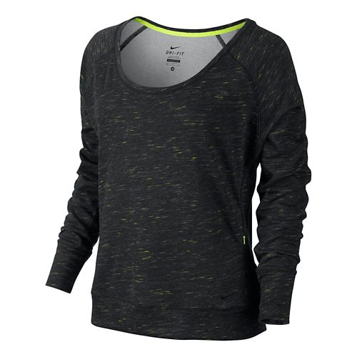 Womens Nike Gym Neon Fleck Lightweight Fleece Epic Long Sleeve No Zip Technical Tops - ...