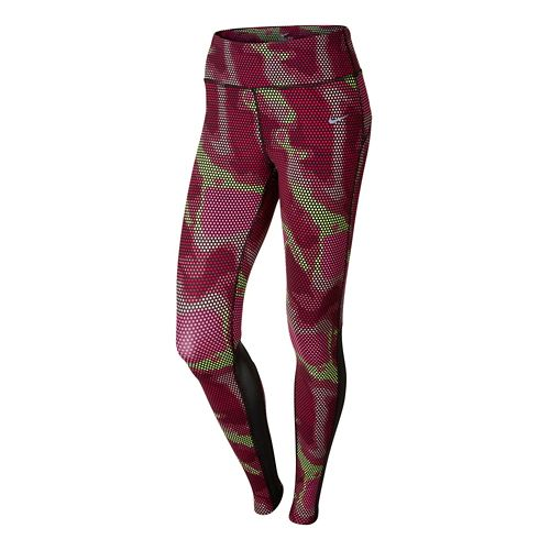 Womens Nike Printed Epic Lux Fitted Tights - Bright Pink M