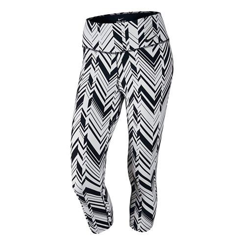 Womens Nike Legendary Freeze Frame Capri Tights - White/Black XL