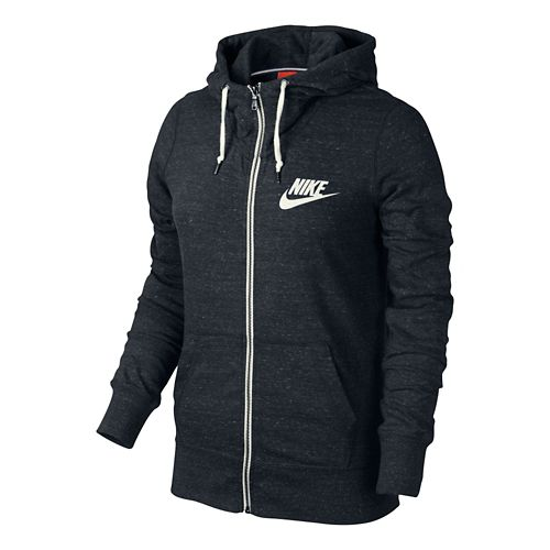 Womens Nike Gym Vintage Full Zip Hoodie Running Jackets - Black L
