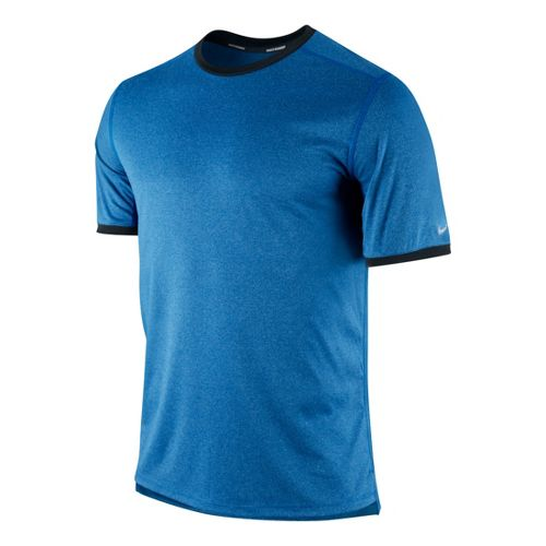 Mens Nike Relay Short Sleeve Technical Tops - Sapphire/Heather S