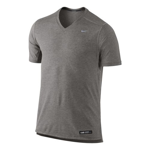Mens Nike Tailwind V Neck Short Sleeve Technical Tops - Light Grey/Heather L