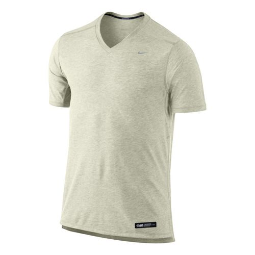 Mens Nike Tailwind V Neck Short Sleeve Technical Tops - Oatmeal XL