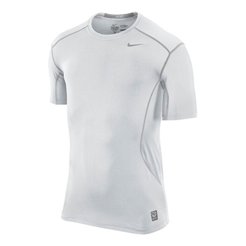 Mens Nike Pro Combat Fitted Crew Short Sleeve Technical Tops - White XL
