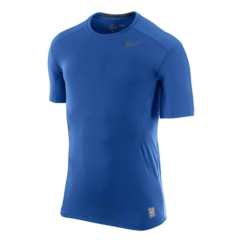 Mens Nike Pro Combat Fitted Crew Short Sleeve Technical Tops - Game Royal XL
