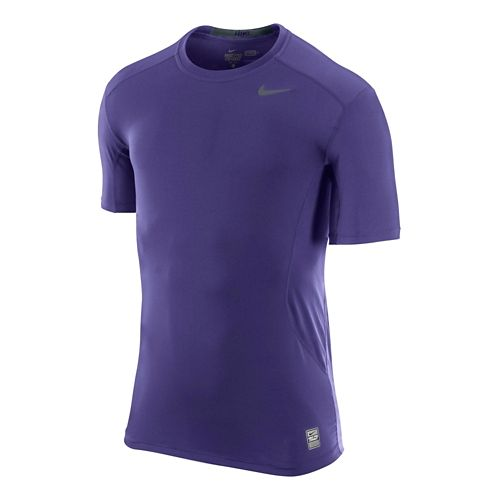 Mens Nike Pro Combat Fitted Crew Short Sleeve Technical Tops - Court Purple M