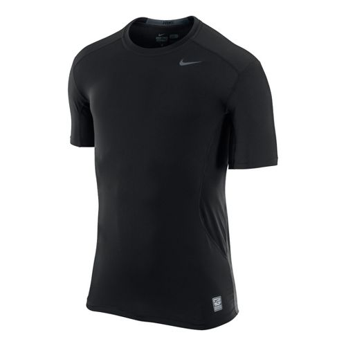 Mens Nike Pro Combat Fitted Crew Short Sleeve Technical Tops - Black L