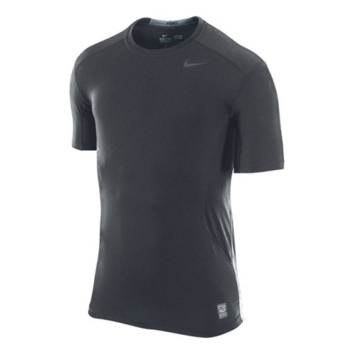Mens Nike Pro Combat Fitted Crew Short Sleeve Technical Tops - Heather Grey S