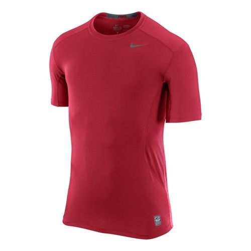 Mens Nike Pro Combat Fitted Crew Short Sleeve Technical Tops - Red XL