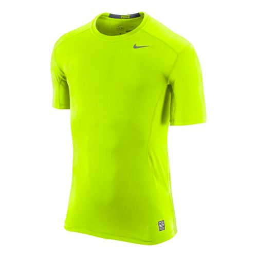 Mens Nike Pro Combat Fitted Crew Short Sleeve Technical Tops - Volt L