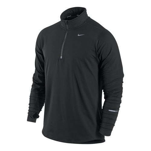 Mens Nike Element Long Sleeve 1/2 Zip Technical Tops - Black L