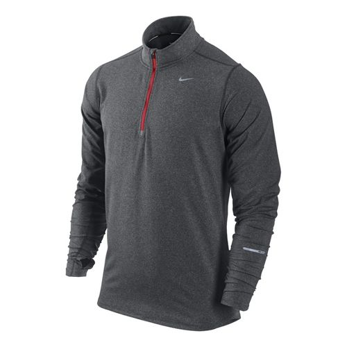 Mens Nike Element Long Sleeve 1/2 Zip Technical Tops - Dark Grey/Heather S