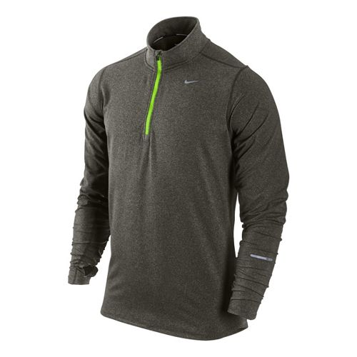 Mens Nike Element Long Sleeve 1/2 Zip Technical Tops - Dark Olive M