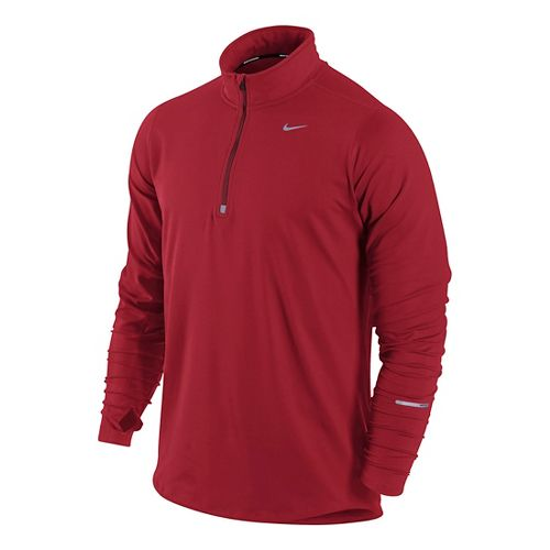 Mens Nike Element Long Sleeve 1/2 Zip Technical Tops - Formula Red M