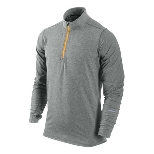 Mens Nike Element Long Sleeve 1/2 Zip Technical Tops - Heather Grey S