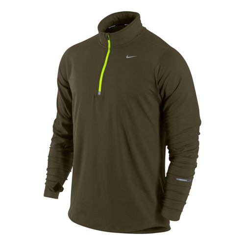 Mens Nike Element Long Sleeve 1/2 Zip Technical Tops - Loden S