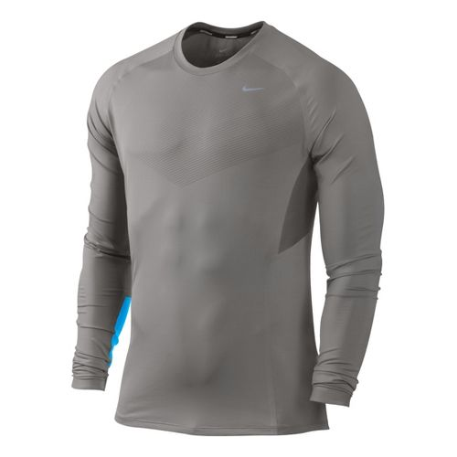 Mens Nike Speed Long Sleeve No Zip Technical Tops - Light Grey/Brilliant Blue XL