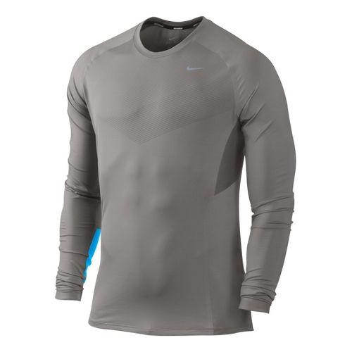 Mens Nike Speed Long Sleeve No Zip Technical Tops - Light Grey/Brilliant Blue XL