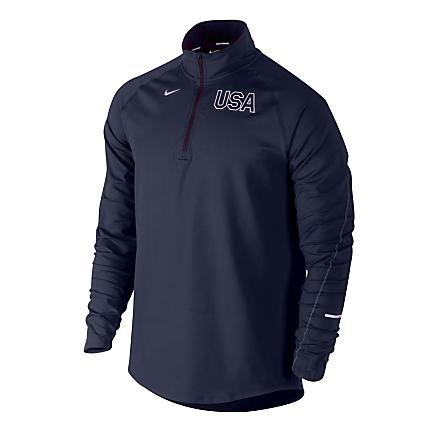 Mens Nike USA Element Long Sleeve 1/2 Zip Technical Tops