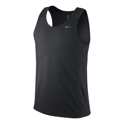 Mens Nike Miler Singlet II Technical Tops - Dark Grey L