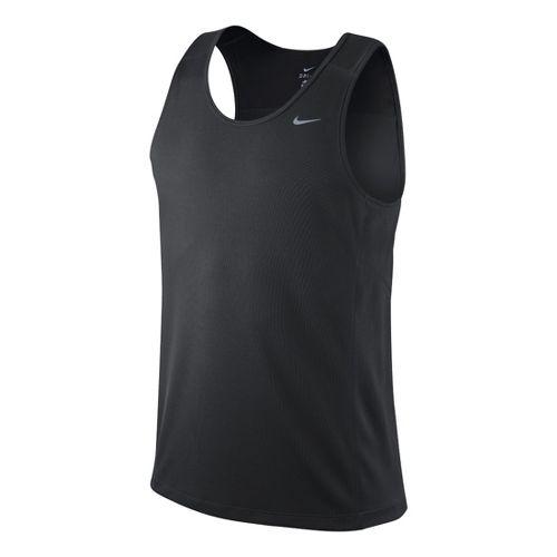 Mens Nike Miler Singlet II Technical Tops - Dark Grey M