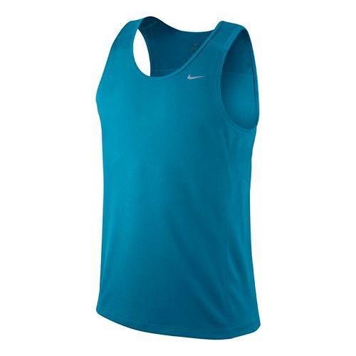 Mens Nike Miler Singlet II Technical Tops - Liquid Blue M