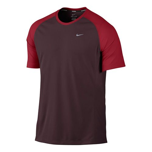 Mens Nike Miler UV Short Sleeve Technical Tops - Burgundy L