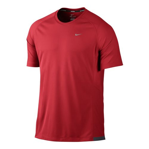 Mens Nike Miler UV Short Sleeve Technical Tops - Chili Red M