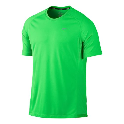 Mens Nike Miler UV Short Sleeve Technical Tops - Cool Green L