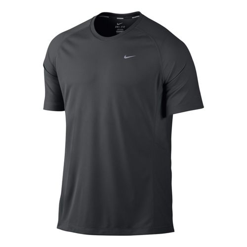 Mens Nike Miler UV Short Sleeve Technical Tops - Dark Grey M