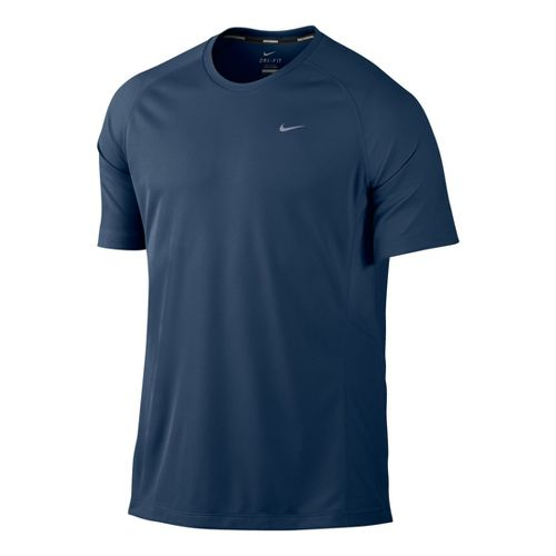 Mens Nike Miler UV Short Sleeve Technical Tops - Deep Blue S