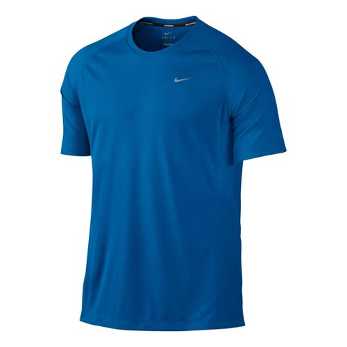 Mens Nike Miler UV Short Sleeve Technical Tops - Kadet Blue L