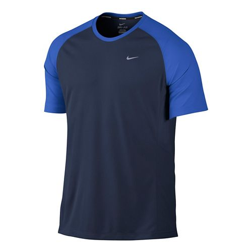 Mens Nike Miler UV Short Sleeve Technical Tops - Navy/Cobalt M