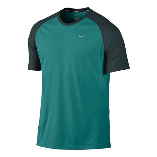 Mens Nike Miler UV Short Sleeve Technical Tops - Sea Green S