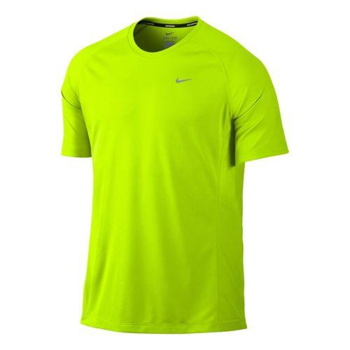 Mens Nike Miler UV Short Sleeve Technical Tops - Volt S