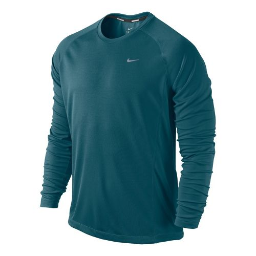 Mens Nike Miler UV Long Sleeve No Zip Technical Tops - Atomic Teal M