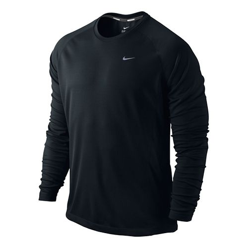 Mens Nike Miler UV Long Sleeve No Zip Technical Tops - Black L