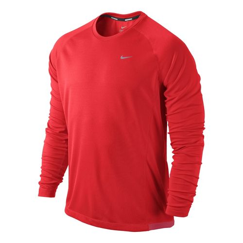 Mens Nike Miler UV Long Sleeve No Zip Technical Tops - Crimson L