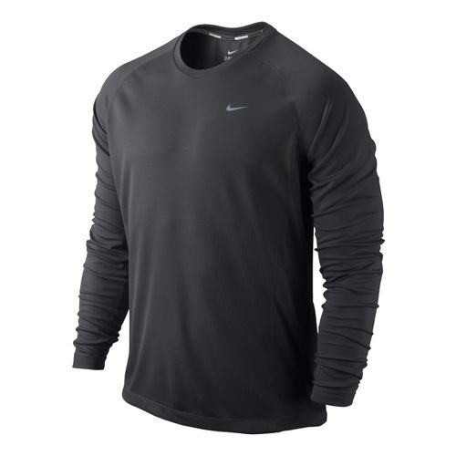 Mens Nike Miler UV Long Sleeve No Zip Technical Tops - Dark Grey M