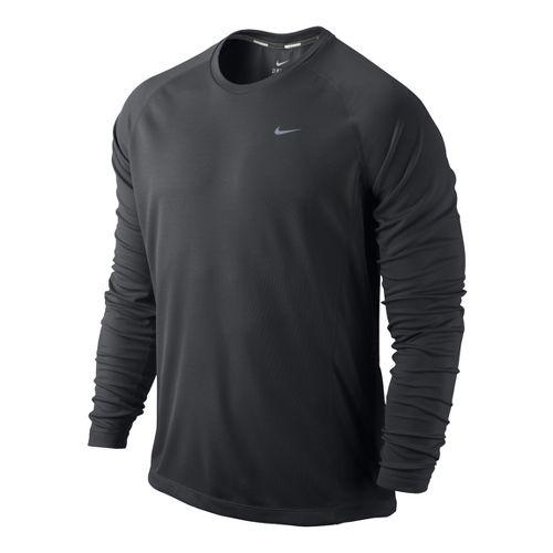 Mens Nike Miler UV Long Sleeve No Zip Technical Tops - Dark Grey S