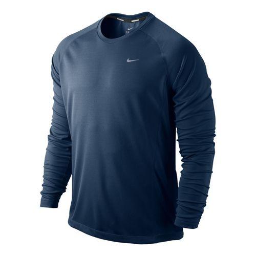 Mens Nike Miler UV Long Sleeve No Zip Technical Tops - Deep Blue M
