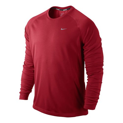 Mens Nike Miler UV Long Sleeve No Zip Technical Tops - Formula Red L