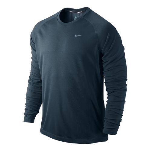 Mens Nike Miler UV Long Sleeve No Zip Technical Tops - Jet Blue M