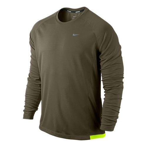 Mens Nike Miler UV Long Sleeve No Zip Technical Tops - Loden XL