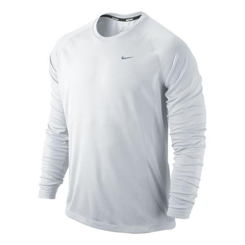 Mens Nike Miler UV Long Sleeve No Zip Technical Tops - White M
