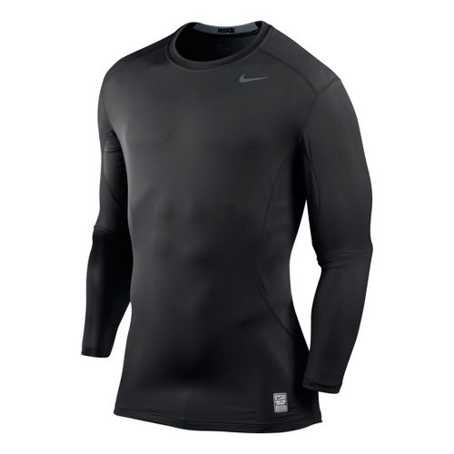 Mens Nike Core Fitted Top 2.0 Long Sleeve No Zip Technical Tops - Black S ...