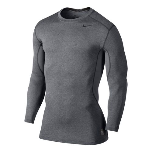 Mens Nike Core Fitted Top 2.0 Long Sleeve No Zip Technical Tops - Heather Grey ...